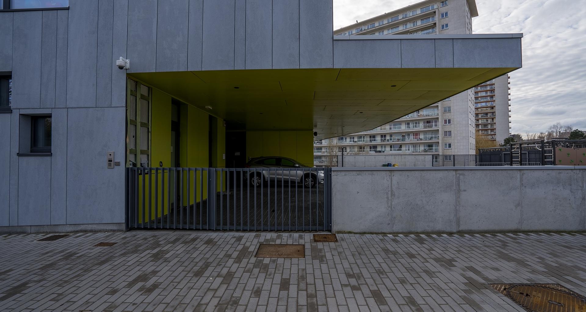 Brussels school cement fiber board cladding